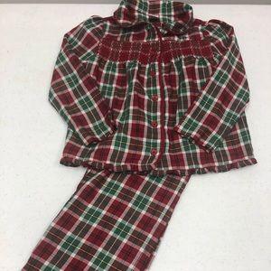 Janie and Jack Sz 4 plaid holiday pajamas Euc